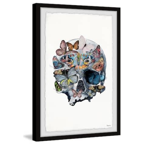 Handmade Magnificent Butterfly Skull Framed Print