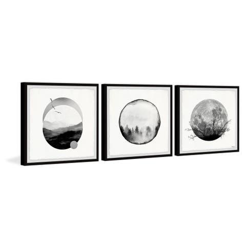 Handmade Forest Moon Triptych