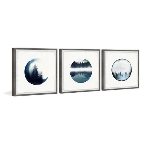 Handmade Forest Mountain Reflection Triptych