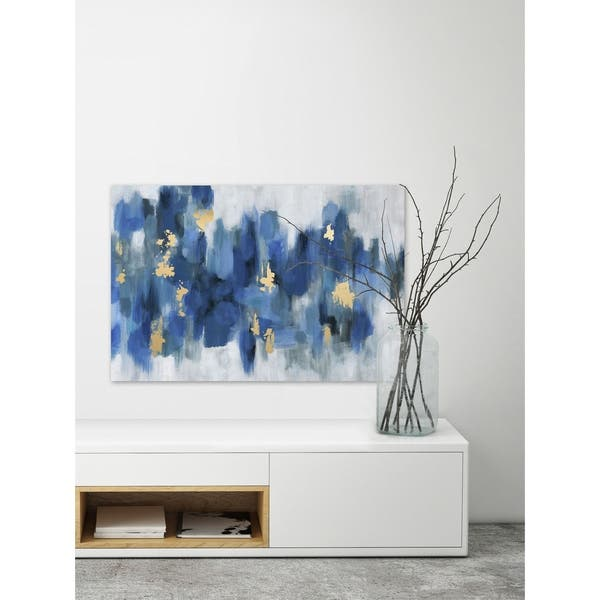 shop porch den emmaus blurry blue flowers ii wrapped canvas print overstock 26640787 usd