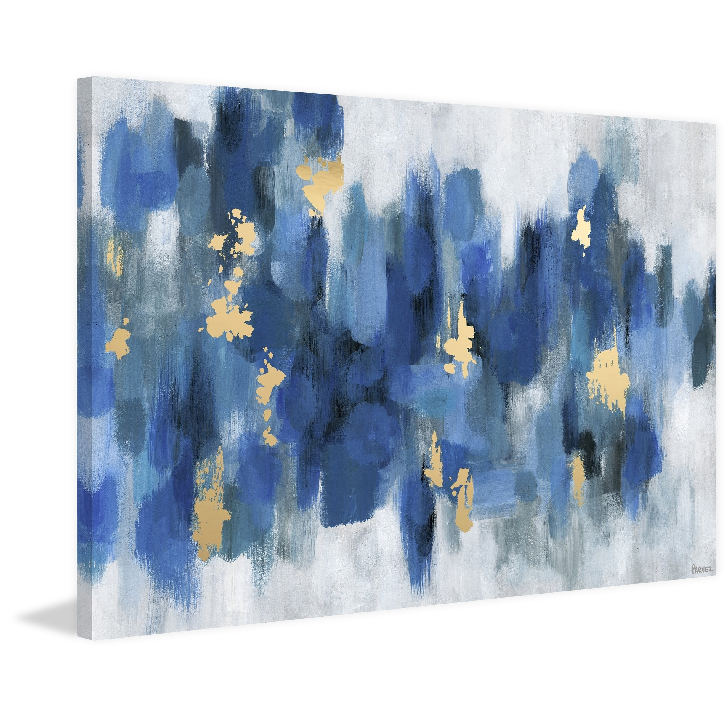 shop porch den emmaus blurry blue flowers ii wrapped canvas print overstock 26640787 porch den emmaus blurry blue flowers ii wrapped canvas print