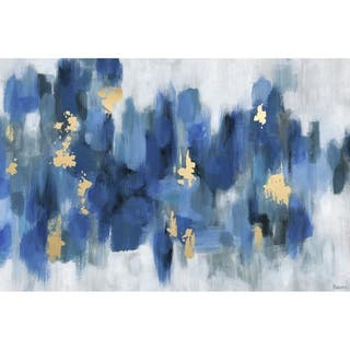 Porch & Den Emmaus Blurry Blue Flowers II' Wrapped Canvas Print