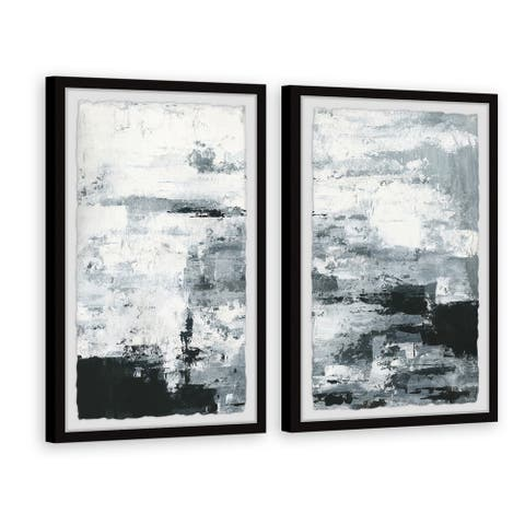 Handmade Black and White Smudges II Diptych
