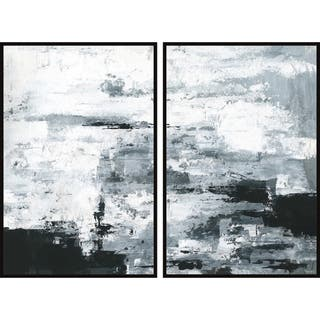 Handmade Black and White Smudges Diptych