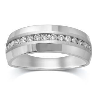 Unending Love 10K White Gold 1/2 Cttw White Diamond Men's Wedding Band