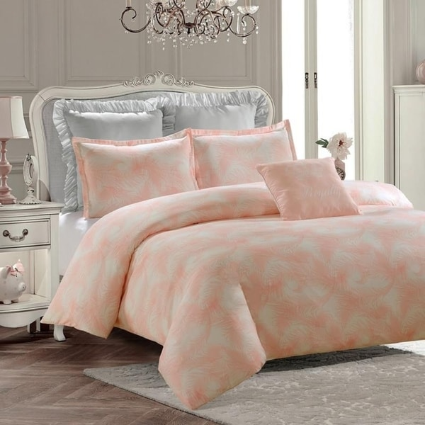 Royal Feathers Duvet Set-Pink-Machine Washable - Includes 1 Duvet + 2 Shams- 1 Pillow -Full
