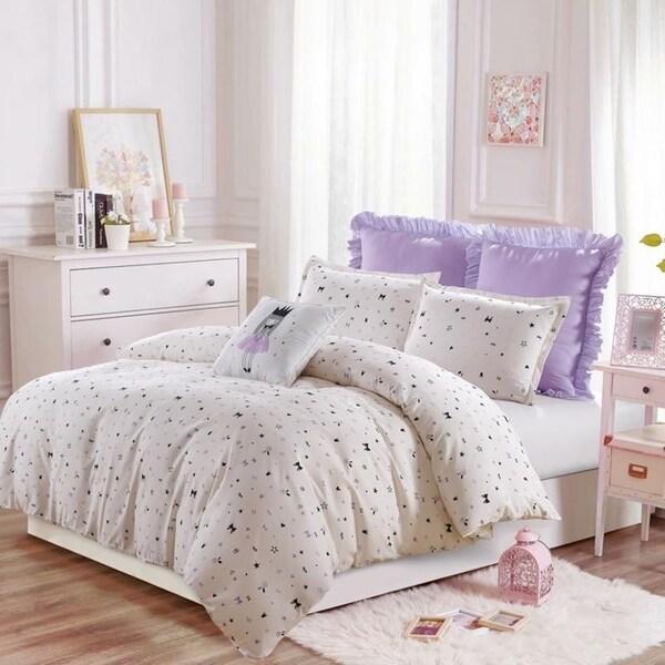 The Little Princess- Purple-Gray-Duvet Set --Machine Washable - Includes 1 Duvet + 2 Shams- 1 Pillow -Full