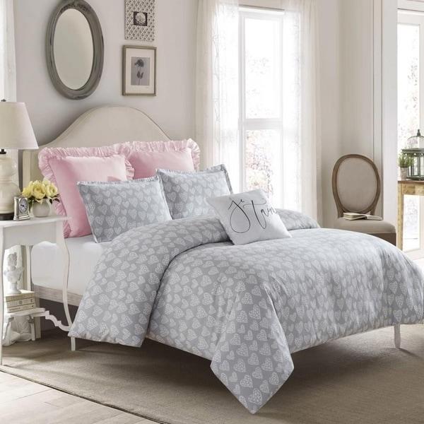 Crystal Heart Duvet Set-Gray-Machine Washable - Includes 1 Duvet + 2 Shams- 1 Pillow -Full