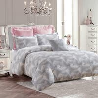 Royal Feathers Duvet Set-Gray-Machine Washable - Includes 1 Duvet + 2 Shams- 1 Pillow -Full