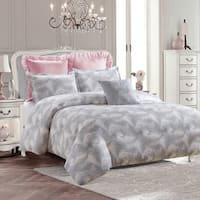 Royal Feathers Duvet Set-Gray-Machine Washable - Includes 1 Duvet + 2 Shams- 1 Pillow -Full