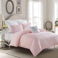 Crystal Heart Duvet Set-Pink-Machine Washable - Includes 1 Duvet + 2 Shams- 1 Pillow -Full