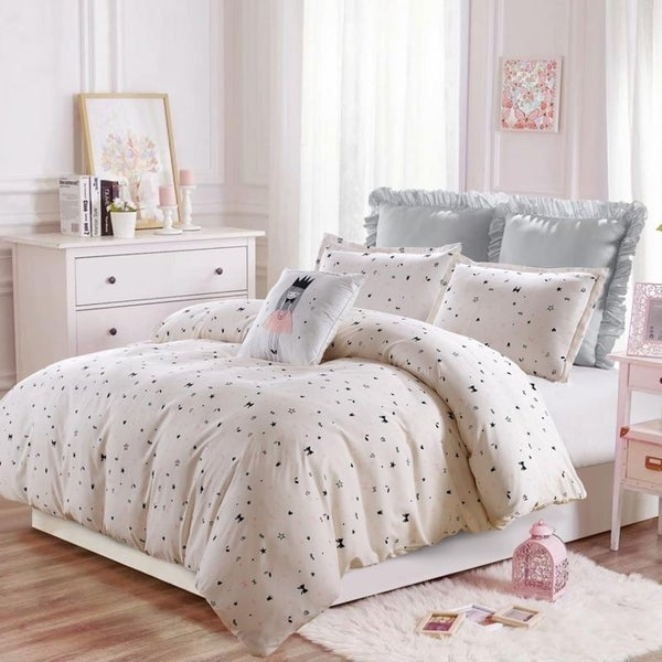 The Little Princess- Pink-Gray-Duvet Set--Machine Washable - Includes 1 Duvet + 2 Shams- 1 Pillow -Full