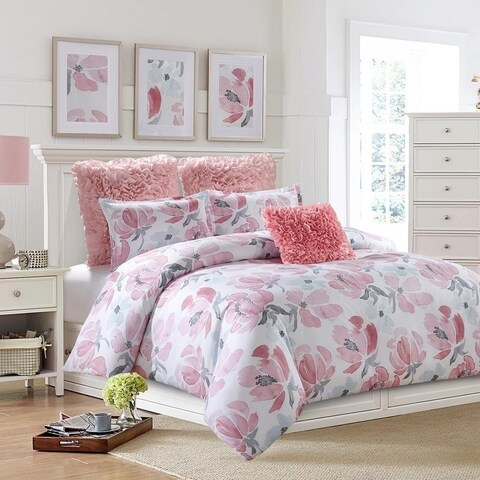 Soft Floral-Watercolor Duvet Set-Blush-Machine Washable - Includes 1 Duvet + 2 Shams- 1 Pillow -Full