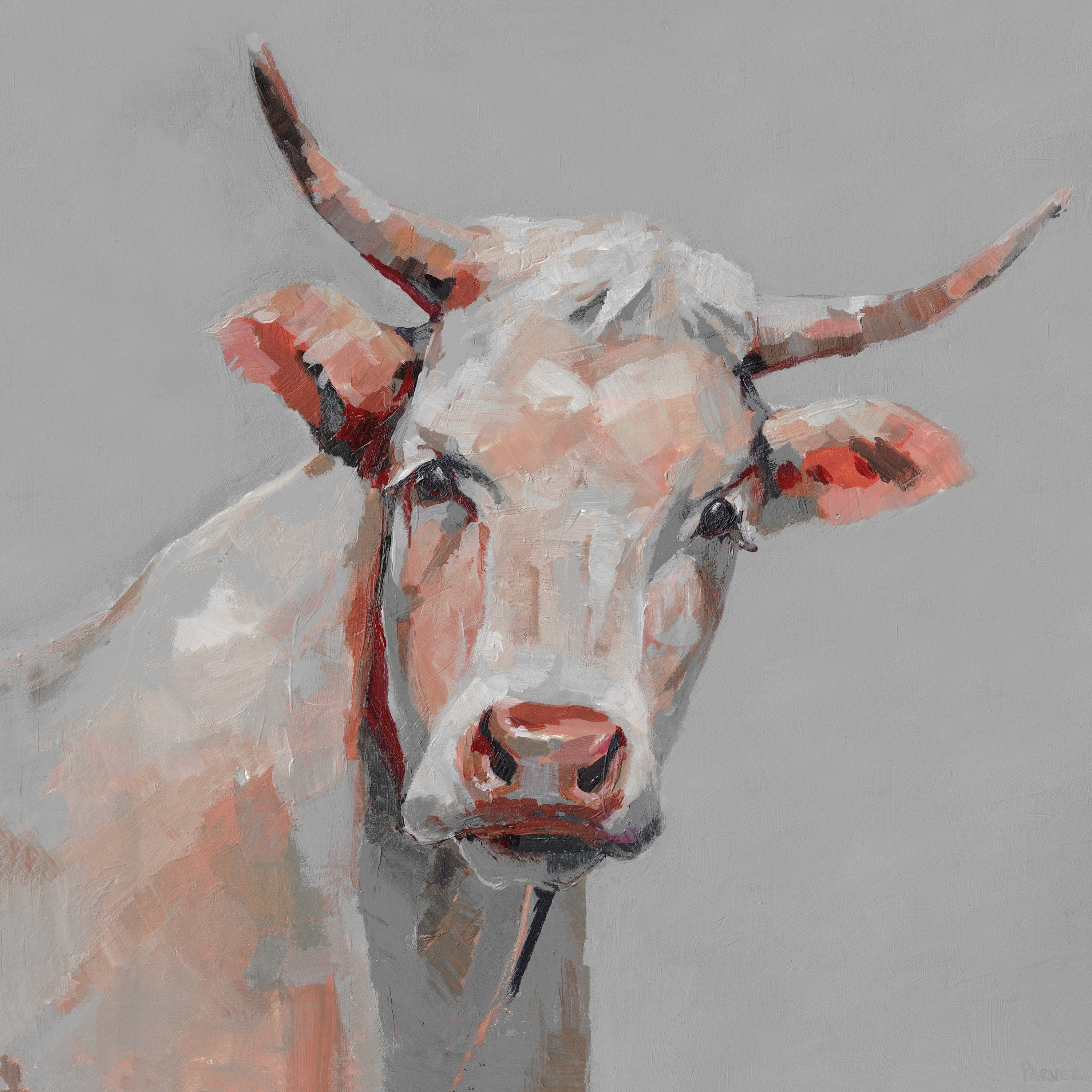 Handmade Mischievous Cow Print On Wrapped Canvas Overstock 26641178