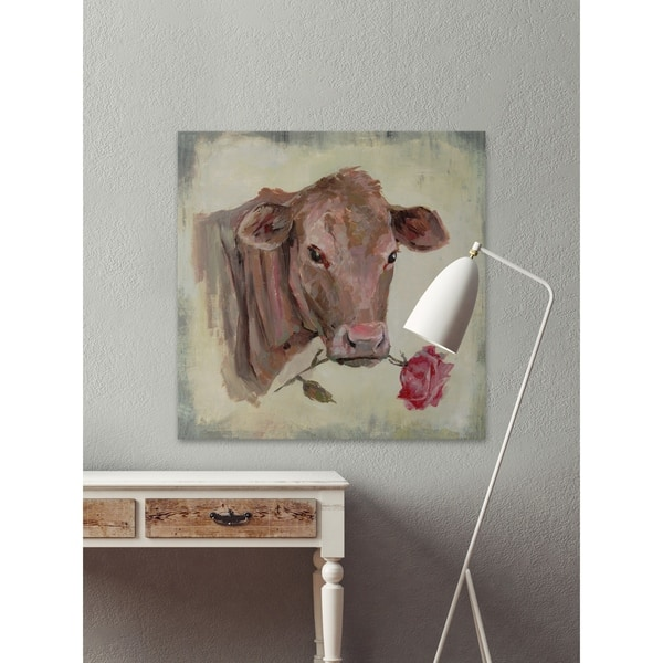 Handmade Romantic Cow Print On Wrapped Canvas Overstock 26641181