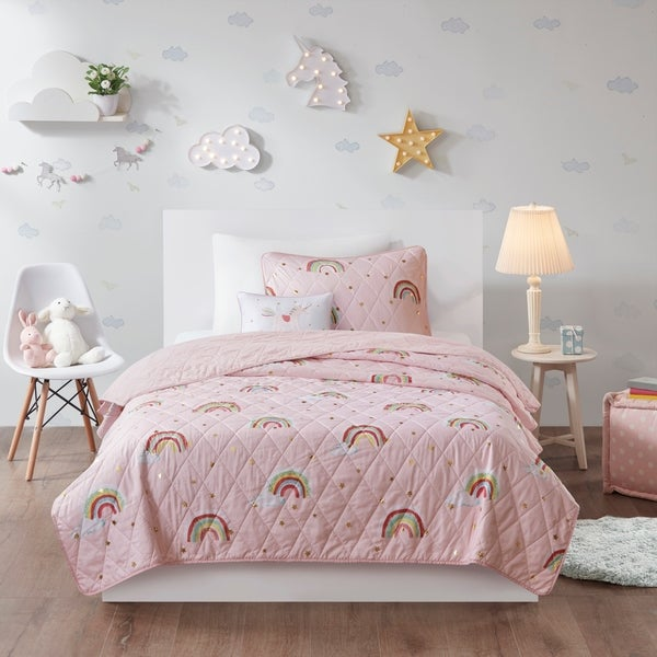 Mi Zone Kids Mia Pink Rainbow with Metallic Printed Stars Reversible Coverlet Set. Opens flyout.