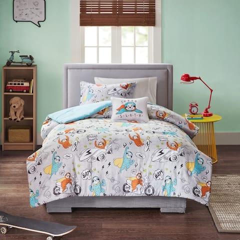 Mi Zone Kids Jacob Grey Sloth Printed Comforter Set