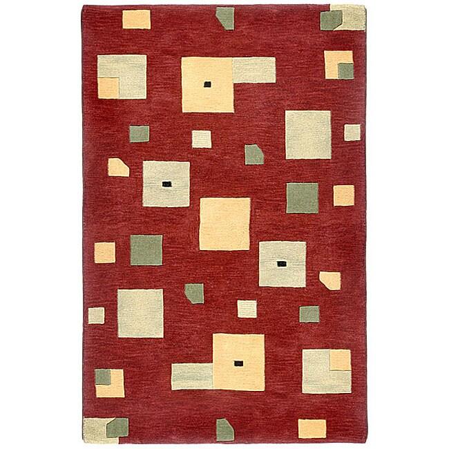 Handmade Elite Contemporary Wool Rug (5' x 8')