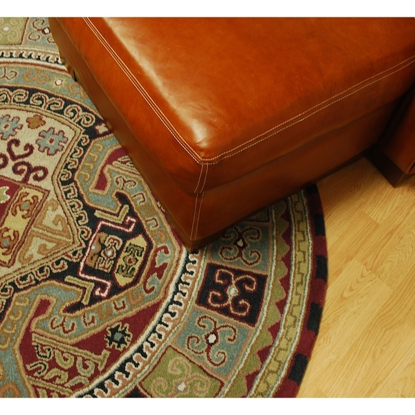 Handmade Elite Traditional Wool Rug (6' Round) - 6' x 6'