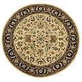 Handmade Elite Traditional Floral Wool Rug (8' Round) - 8' x 8' Round
