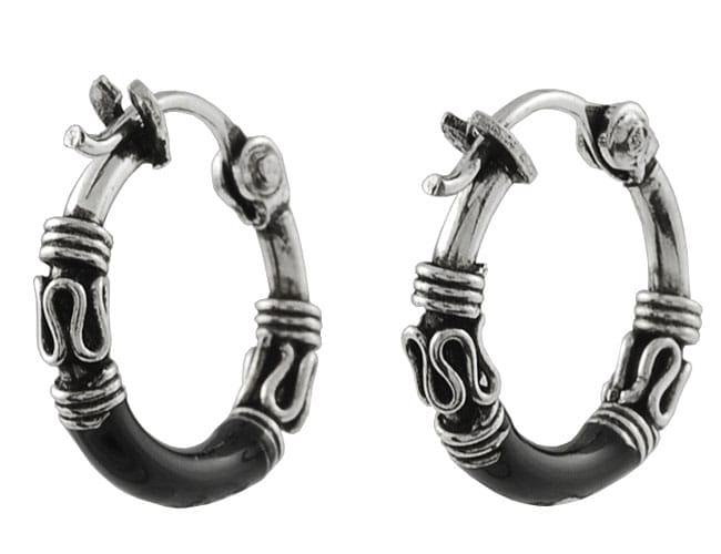 Journee Sterling Silver Tribal Black Hoop Earrings