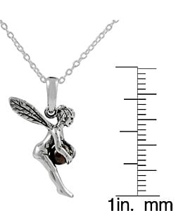 Journee Sterling Silver Fairy Holding Garnet Ball Necklace - Thumbnail 2