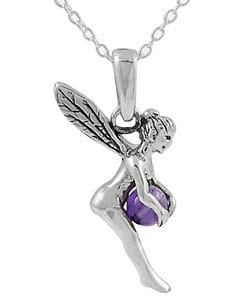 Journee Collection  Sterling Silver Fairy with Amethyst Ball Necklace