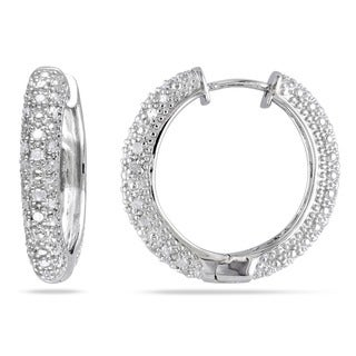 Miadora Sterling Silver 1/2ct Diamond Hoop Earrings