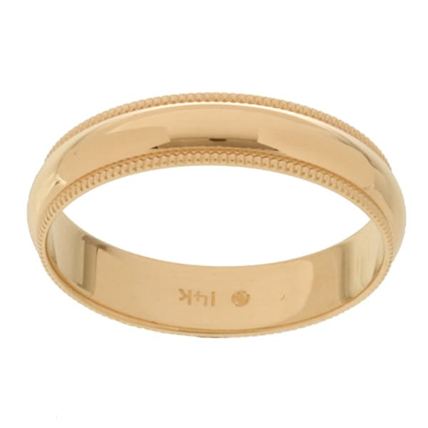 14k Yellow Gold Millgrain 4-mm Wedding Band