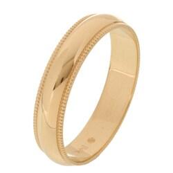 14k Yellow Gold Millgrain 4-mm Wedding Band