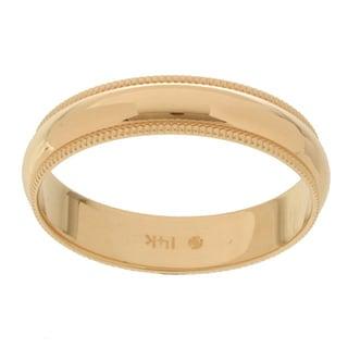 14k Yellow Gold Millgrain 4-mm Wedding Band (Option: Gold)
