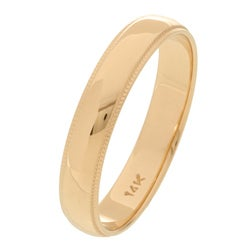14k Yellow Gold Men's Milligrain 4-mm Wedding Band - Thumbnail 1