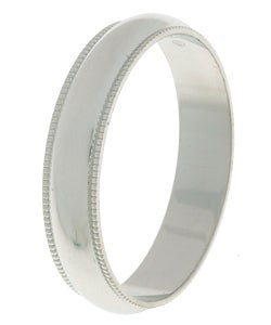Four-millimeter Platinum Slightly Domed Millegrain Wedding Band - Thumbnail 1