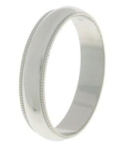 Four-millimeter Platinum Slightly Domed Millegrain Wedding Band