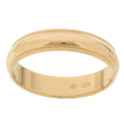 10k Yellow Gold Women's Milligrain 4-mm Wedding Band
