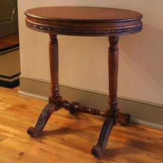 International Caravan Carved Wood Oval Tea Table