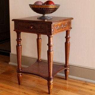 International Caravan Windsor Hand-carved 2-tier Table with Drawer