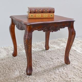 International Caravan Windsor Carved Wood End Table