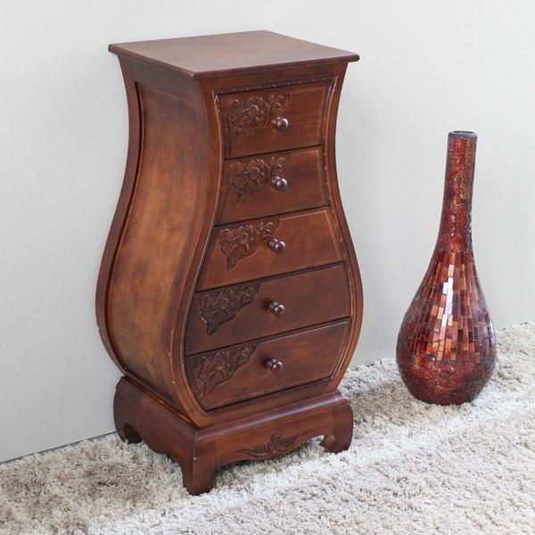 International Caravan Windsor Hand-carved 5-drawer Bombay Dresser
