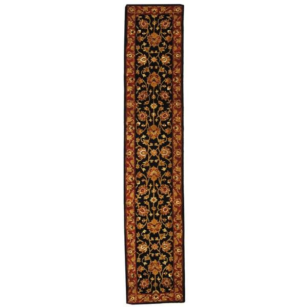 "Safavieh Handmade Heritage Traditional Kerman Black/ Peach Wool Runner - 2'3"" x 10'"
