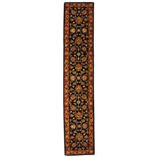 Safavieh Handmade Heritage Traditional Kerman Black/ Peach Wool Runner (2'3 x 10')