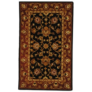 Safavieh Handmade Heritage Traditional Kerman Black/ Peach Wool Rug (3' x 5')