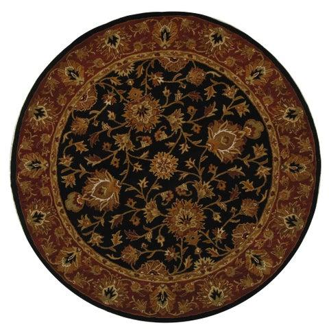 Safavieh Handmade Heritage Traditional Kerman Black/ Peach Wool Rug - 6' x 6' Round