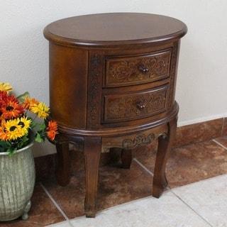 International Caravan Carved Wood Two-drawer Oval End Table