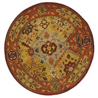 "Safavieh Handmade Heritage Traditional Bakhtiari Multi/ Red Wool Rug - 3'6"" x 3'6"" Round"