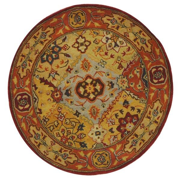 Safavieh Handmade Heritage Traditional Bakhtiari Multi/ Red Wool Rug (3'6 Round)