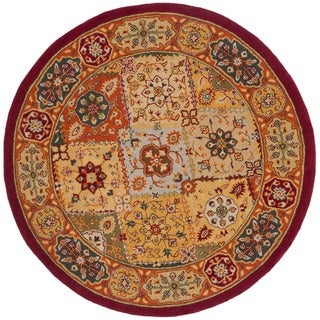Safavieh Handmade Heritage Traditional Bakhtiari Multi/ Red Wool Rug (6' Round)