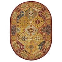 "Safavieh Handmade Heritage Traditional Bakhtiari Multi/ Red Wool Rug (4'6 x 6'6 Oval) - 4'6"" x 6'6"" Oval"