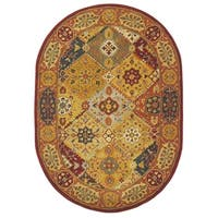 Safavieh Handmade Heritage Traditional Bakhtiari Multi/ Red Wool Rug - 4'6' x 6'6 oval
