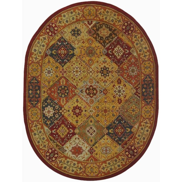 """Safavieh Handmade Heritage Traditional Bakhtiari Multi/ Red Wool Rug (7'6 x 9'6 Oval) - 7'6"""" x 9'6"""" Oval"""